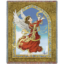 Crimson Angel Woven Blanket Large Soft Comforting Throw 100% Cotton Made in the USA 72x54 Tapestry Throw