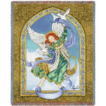 Peaceful Guardian Angel Woven Blanket Large Soft Comforting Throw 100% Cotton Made in the USA 72x54 Tapestry Throw