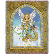 Mint Guardian Angel Woven Blanket Large Soft Comforting Throw 100% Cotton Made in the USA 72x54 Tapestry Throw