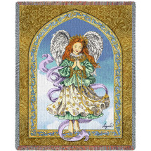 Angel in Prayer Woven Blanket Large Soft Comforting Throw 100% Cotton Made in the USA 72x54 Tapestry Throw
