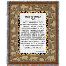 Pure Country Weavers - Prayer For Animals Woven Large Soft Comforting Throw Blanket With Artistic Textured Design Cotton USA 72x54 Tapestry Throw
