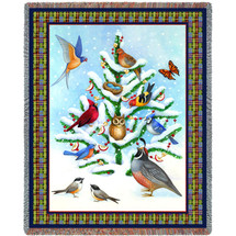 "Christmas Tree with Cardinal Blue Bird and Patridge ""Bird Haven"" Woven Throw Blanket Large Soft Comforting 100% Cotton Made in USA 72x54 Tapestry Throw"
