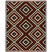 """100% Cotton Southwest Blanket, Woven Large Soft Comforting Aztec Blanket """"Chevron Chenille"""" w/ Cotton Fringe & A Native American Pattern, Tribal Camp Throw (72x54) Tapestry Throw"""