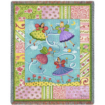 Pure Country Weavers - Patchwork Fairies Woven Large Soft Comforting Throw Blanket With Artistic Textured Design Cotton USA 72x54 Tapestry Throw