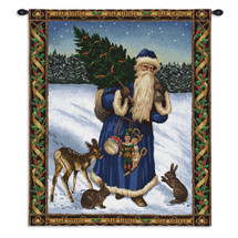 Father Christmas Blue | Woven Tapestry Wall Art Hanging | Santa on Snowy Field Festive Holiday Decor | 100% Cotton USA Size 34x26 Wall Tapestry