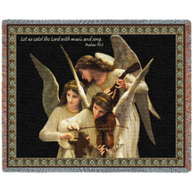 Angels Playing Violin - Les us extol the Lord with music and song - Scriptures - Psalms 95:2 - Tapestry Throw