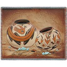 Zuni Pottery Blanket Tapestry Throw