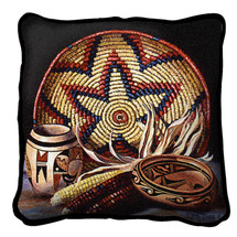 Hopi Harvest Textured Hand Finished Elegant Woven Throw Pillow Cover 100% Cotton Made in the USA Size 17x17 Pillow