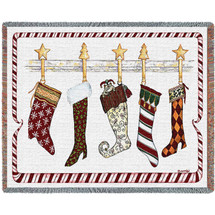 Christmas Stockings Hung on Chimney Mantle Woven Large Soft Comforting Throw Blanket 100% Cotton Made in USA 72x54 Tapestry Throw