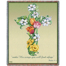 Mixed Bouquet Cross - Under His Wings You Will Find Refuge - Scriptures - Psalm 91:4 - Sympathy - Tapestry Throw