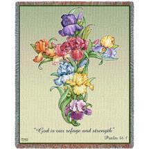 Iris Cross Blanket Tapestry Throw
