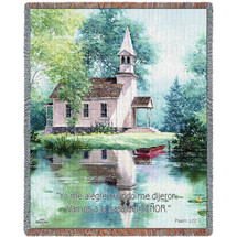 Pure Country Weavers - Lakeside Scripture Vamos A La Casa del Senor Psalm 122:1 Woven Large Soft Comforting Throw Blanket With Artistic Textured Design Cotton USA 72x54 Tapestry Throw