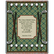 Golf Prayer - Matthew 19:26 - Tapestry Throw