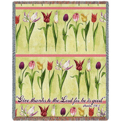 Give Thanks to the Lord Woven Blanket Large Soft Comforting Throw 100% Cotton Made in the USA 72x54 Tapestry Throw