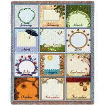 Family Calendar Blanket Tapestry Throw