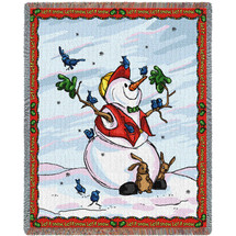 Pure Country Weavers - Let It Snow Snowman Woven Large Soft Comforting Throw Blanket With Artistic Textured Design Cotton USA 72x54 Tapestry Throw