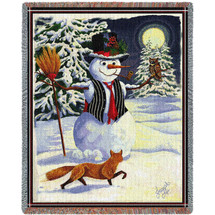 Pure Country Weavers - Twilight Frosty Snowman Woven Large Soft Comforting Throw Blanket With Artistic Textured Design Cotton USA 72x54 Tapestry Throw
