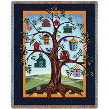Birdhouse Tree Tapestry Throw