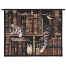 Frederick the Literate - Whimsical Tabby Asleep on Bookcase - Wall Tapestry