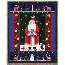 Santa Claus Holding Teddy Bear Gift with Forest Animals Woven Large Soft Comforting Throw Blanket 100% Cotton Made in USA 72x54 Tapestry Throw