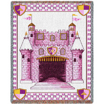 Pure Country Weavers - Castle Pink Small Large Soft Comforting Throw Blanket With Artistic Textured Design Cotton USA 54x40 Woven to Last A Lifetime Tapestry Throw