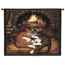 All Burned Out by Charles Wysocki - Tabby Cats Cuddle by Fireplace - Wall Tapestry