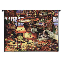 Max in Adirondacks by Charles Wysocki | Woven Tapestry Wall Art Hanging | Feline Asleep amongst Fishing Gear – Fun Cat Lover's Gift | 100% Cotton USA Size 34x26 Wall Tapestry