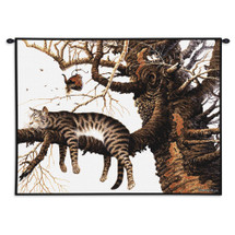 Too Pooped to Participate by Charles Wysocki | Woven Tapestry Wall Art Hanging | Cat Asleep on Tree Branch – Fun Cat Lover's Gift | 100% Cotton USA Size 34x26 Wall Tapestry
