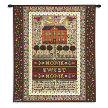 Home Sweet Home - Lovely Brick House Stitched Design with Whimsical Text - Wall Tapestry