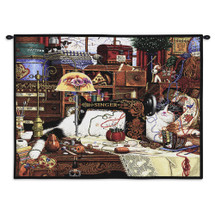 Maggie the Messmaker by Charles Wysocki | Woven Tapestry Wall Art Hanging | Americana Sewing Needles Yarn Singer Lamp – Fun Cat Lover's Gift | 100% Cotton USA Size 34x26 Wall Tapestry