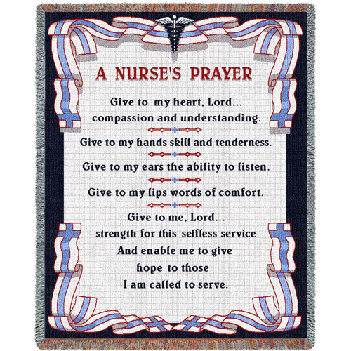 Pure Country Weavers - A Nurse's Prayer Gift Woven Large Soft Comforting Throw Blanket With Artistic Textured Design Cotton USA 72x54 Tapestry Throw