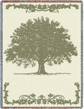 Oak Tree - Cotton Woven Blanket Throw - Made in the USA (72x54) Tapestry Throw