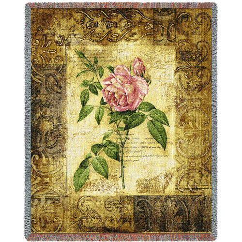 Blossom Elegance Flower I Woven Large Soft Comforting Throw Blanket With Artistic Textured Design Cotton USA 72x54 Tapestry Throw