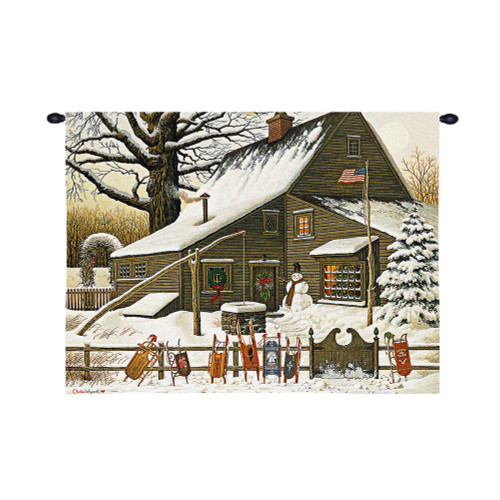 Cocoa Break at the Copperfields by Charles Wysocki   Woven Tapestry Wall Art Hanging   Sleds Lined Up at Warm Christmas Cottage   100% Cotton USA Size 34x26 Wall Tapestry
