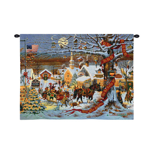 Town Christmas   Woven Tapestry Wall Art Hanging   Snowy Colonial New England Town with Horse Drawn Sled Festive Christmas Decor   100% Cotton USA Size 34x26 Wall Tapestry