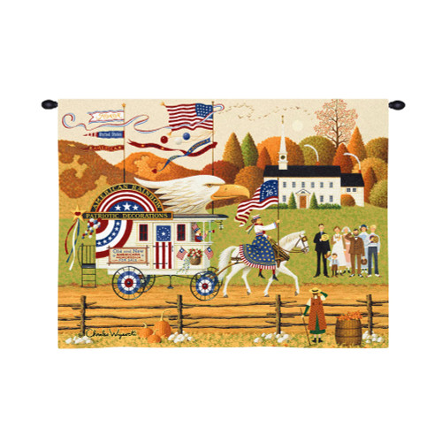 So Proudly We Hail by Charle Wysocki | Woven Tapestry Wall Art Hanging | Whimsical Countryside Patriotic American Parade | 100% Cotton USA Size 34x26 Wall Tapestry