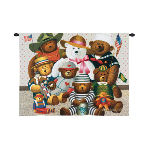 Gang's All Here by Charles Wysocki | Woven Tapestry Wall Art Hanging | Whimsical Teddy Bear Collection Americana Artwork | 100% Cotton USA Size 34x26 Wall Tapestry