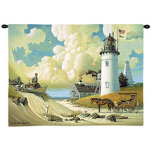 Dreamers by Charles Wysocki | Woven Tapestry Wall Art Hanging | Two Young Boys on Cape Cod Lighthouse Dunes | 100% Cotton USA Size 34x26 Wall Tapestry