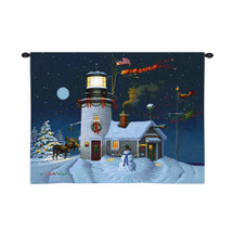 Take Out Window by Charles Wysocki | Woven Tapestry Wall Art Hanging | Festive Christmas Lighthouse Cottage with Snowman and Moose | 100% Cotton USA Size 34x26 Wall Tapestry