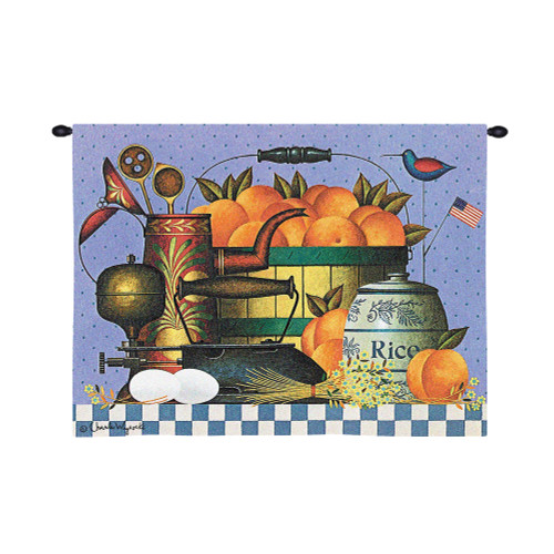 Peaches by Charles Wysocki | Woven Tapestry Wall Art Hanging | Peach Basket Ensemble Americana Themed Artwork | 100% Cotton USA Size 34x26 Wall Tapestry