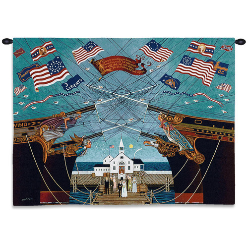 Dockside Marriage by Charles Wysocki | Woven Tapestry Wall Art Hanging | Fun Textile Reproduction of Ships Flags Wedding Chapel in Navy Blue and White | 100% Cotton USA Size 34x26 Wall Tapestry