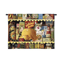 Ethel the Gourmet by Charles Wysocki| Woven Tapestry Wall Art Hanging | Whimsical Feline Themed Pantry Scene - Fun Cat Lover's Gift | 100% Cotton USA Size 34x26 Wall Tapestry