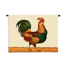 Rooster by Charles Wysocki | Woven Tapestry Wall Art Hanging | Proud Strutting Country Chicken | 100% Cotton USA Size 34x26 Wall Tapestry
