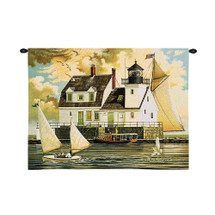 Rockland Breakwater - Maine Harbor Lighthouse with Sailboats - Wall Tapestry