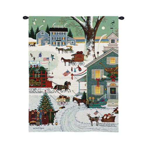 Cape Cod Christmas by Charles Wysocki | Woven Tapestry Wall Art Hanging | Children Decor Festive Holiday Small Town Activities | 100% Cotton USA Size 34x26 Wall Tapestry