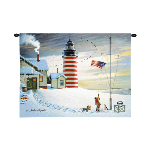 West Quoddy Lighthouse by Charles Wysocki | Woven Tapestry Wall Art Hanging | Whimsical American Coastal Lighthouse in Winter | 100% Cotton USA Size 34x26 Wall Tapestry