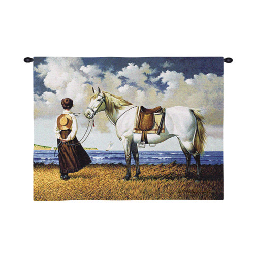Sea Captain's Wife Abiding by Charles Wysocki | Woven Tapestry Wall Art Hanging | White Horse and Woman Patiently Waiting at Seaside | 100% Cotton USA Size 34x26 Wall Tapestry