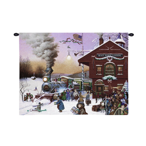 Whistle Stop Christmas by Charles Wysocki | Woven Tapestry Wall Art Hanging | Whimsical Wintry American Train Station at Christmas | 100% Cotton USA Size 34x26 Wall Tapestry