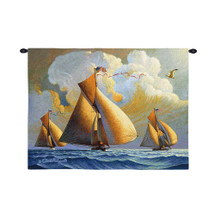 The Searam by Charles Wysocki | Woven Tapestry Wall Art Hanging | Billowing Sailboats on Majestic Ocean | 100% Cotton USA Size 34x26 Wall Tapestry