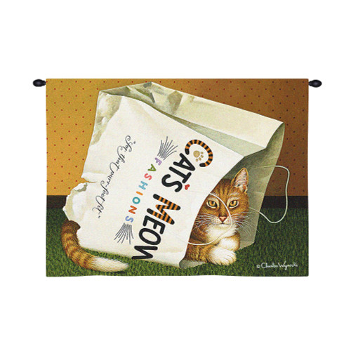 Cat's in Bag by Charles Wysocki | Woven Tapestry Wall Art Hanging | Plump Feline Playing in Shopping Bag – Fun Cat Lover's Gift | 100% Cotton USA Size 34x26 Wall Tapestry